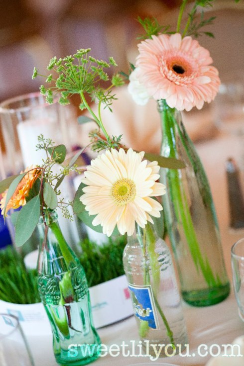vintage soda bottle wedding flowers baseball theme centerpiece