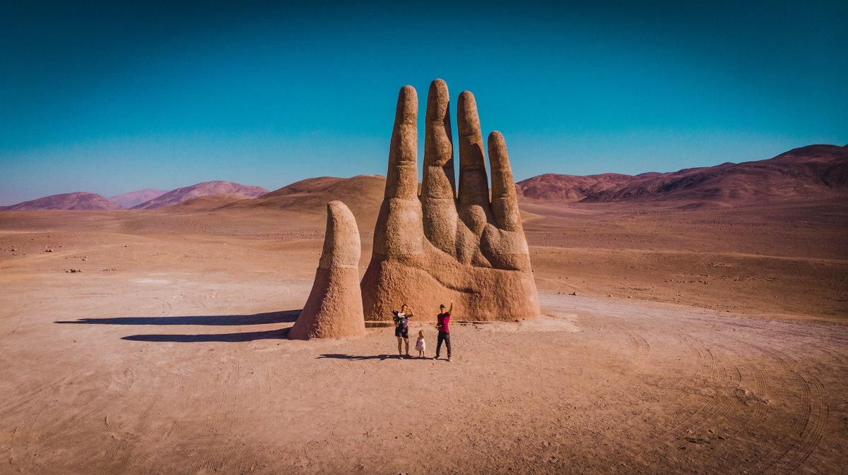 Drone shot of the Hand of the Desert