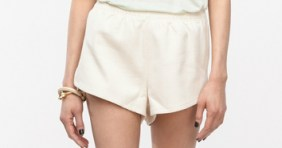 cut out shorts in off white