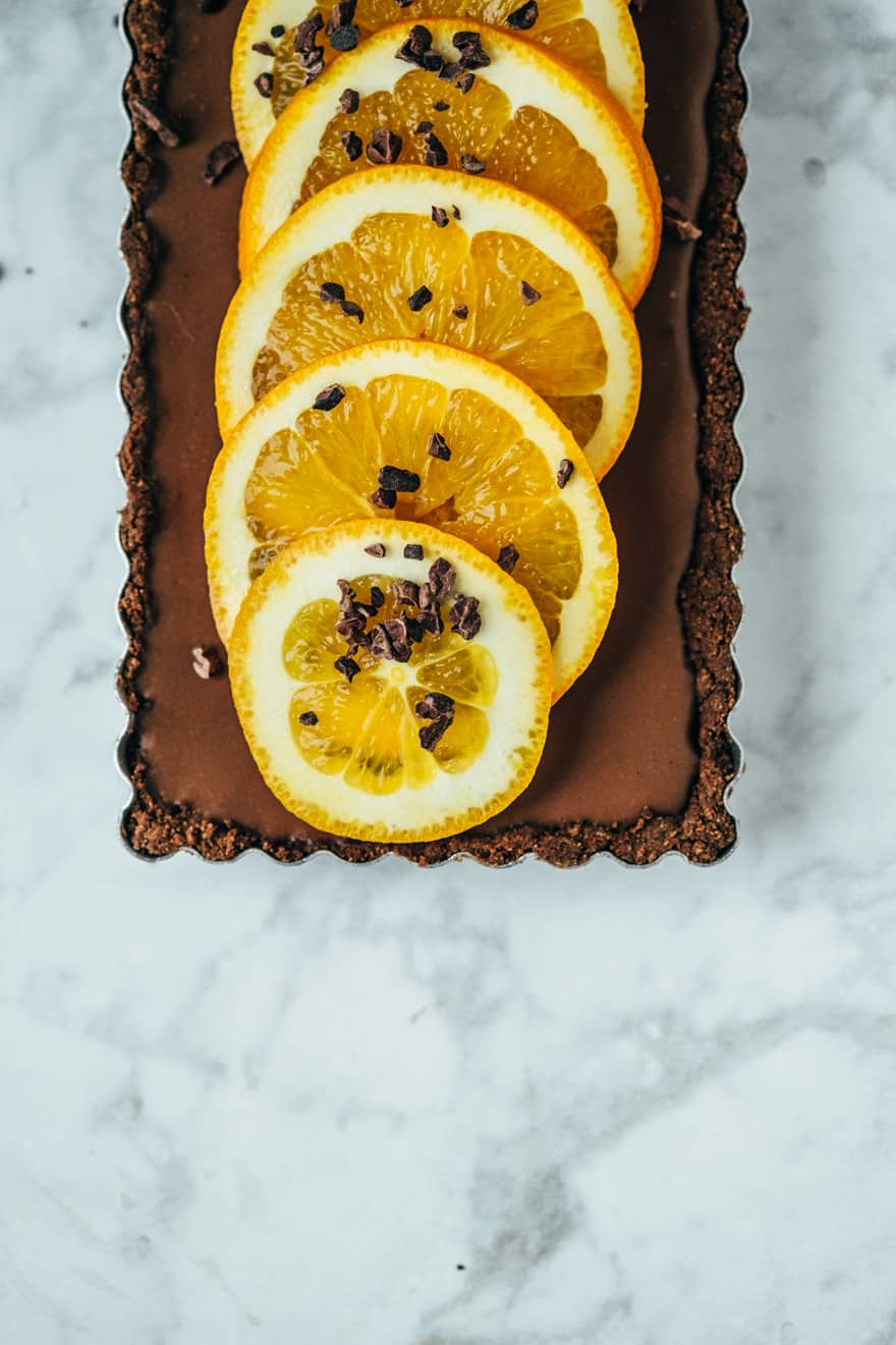 orange chocolate tart (paleo, vegan)