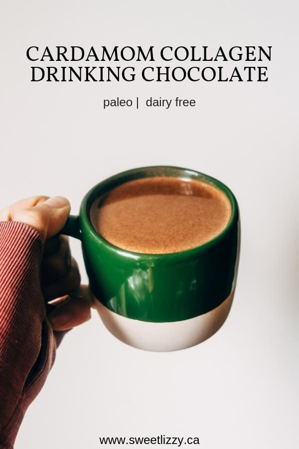 A creamy dairy free cardamom drinking chocolate with collagen peptides.  The perfect elixir for dessert while curled up by the fire!  |  www.sweetlizzy.ca  |  #cardamom #collagen #hotchocolate #dairyfree #paleo #easyrecipe