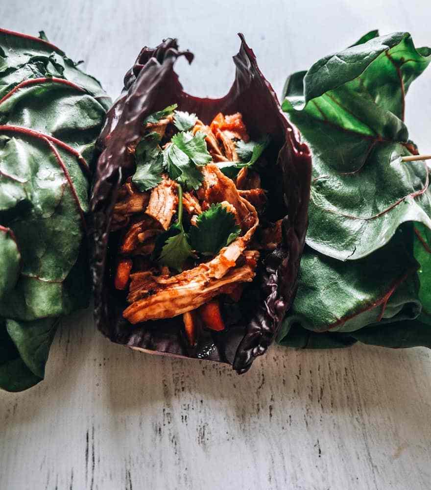 slow cooker chicken veggie wraps #paleo #whole30