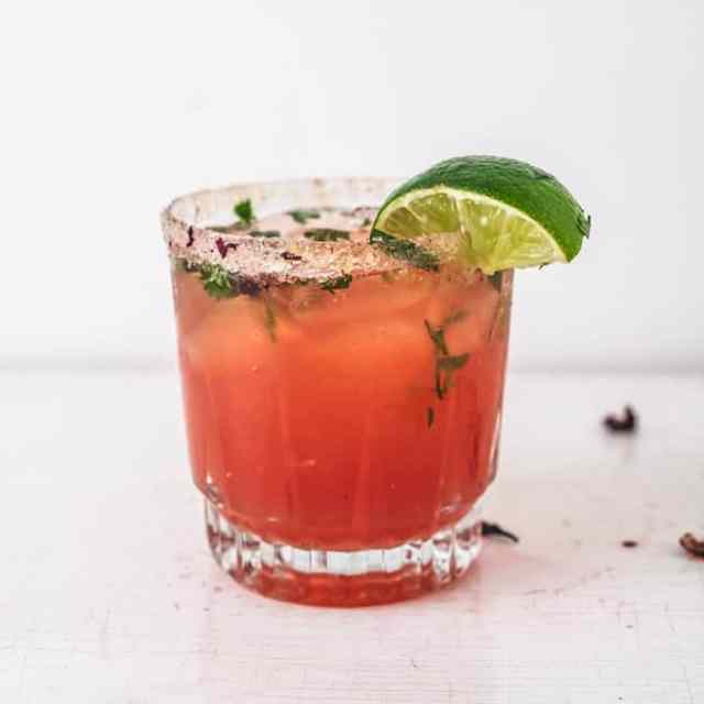 Hibiscus and Ginger Kombucha Margarita Mocktail