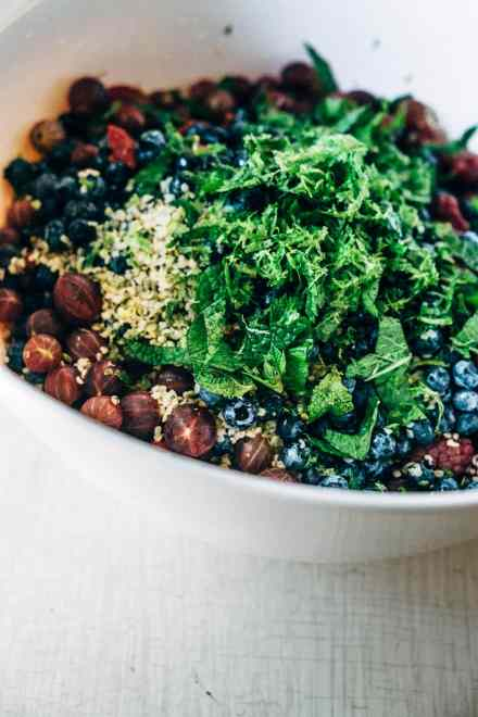 Superfood Fruit salad with lemon vanilla coconut whip #paleo #vegan #healthy #recipe