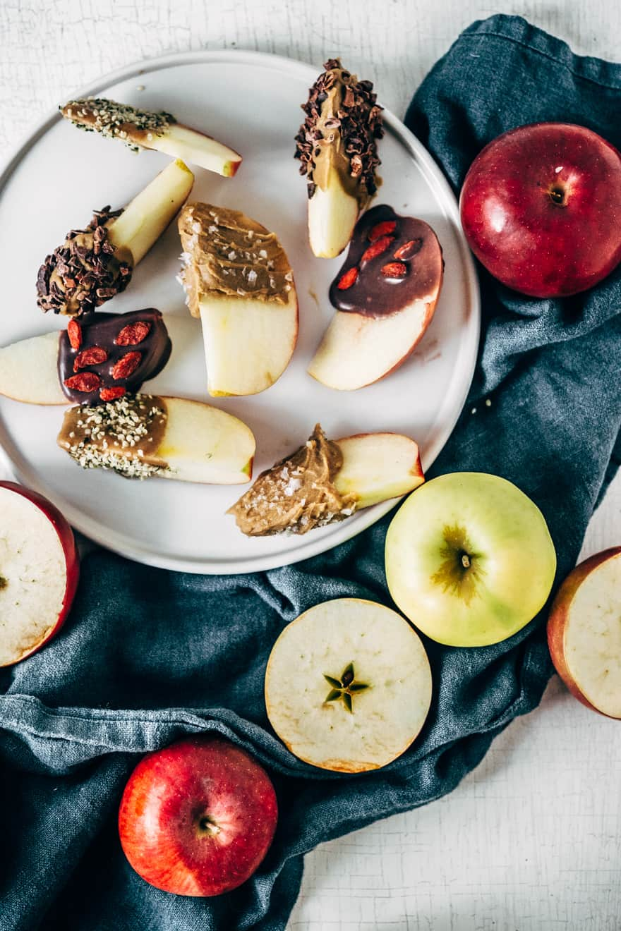 caramel apple slices with superfoods