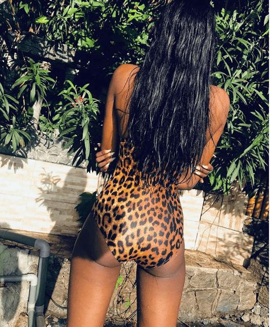 Sweetloaded 5dae14f8b398b Model, Ramat flaunts her hot body in tiger-print swimsuit (Photos) gist  Model ramat