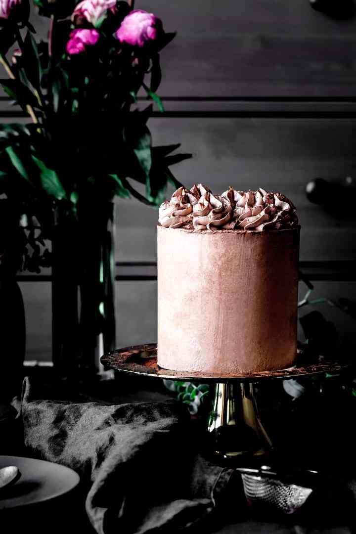 Layer cake chocolat, insert chocolat et ganache montée vanille