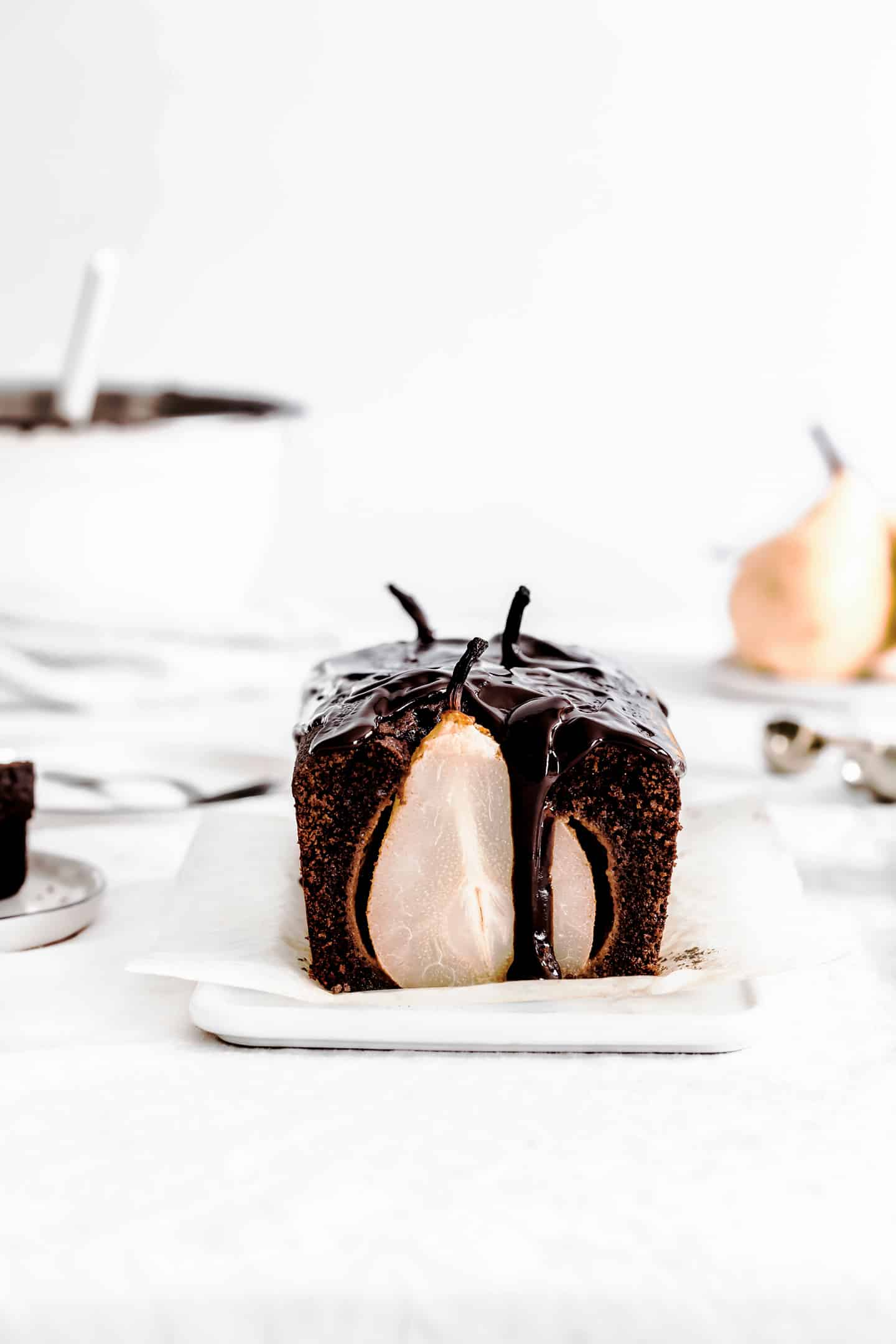 Pear cake chocolate topping