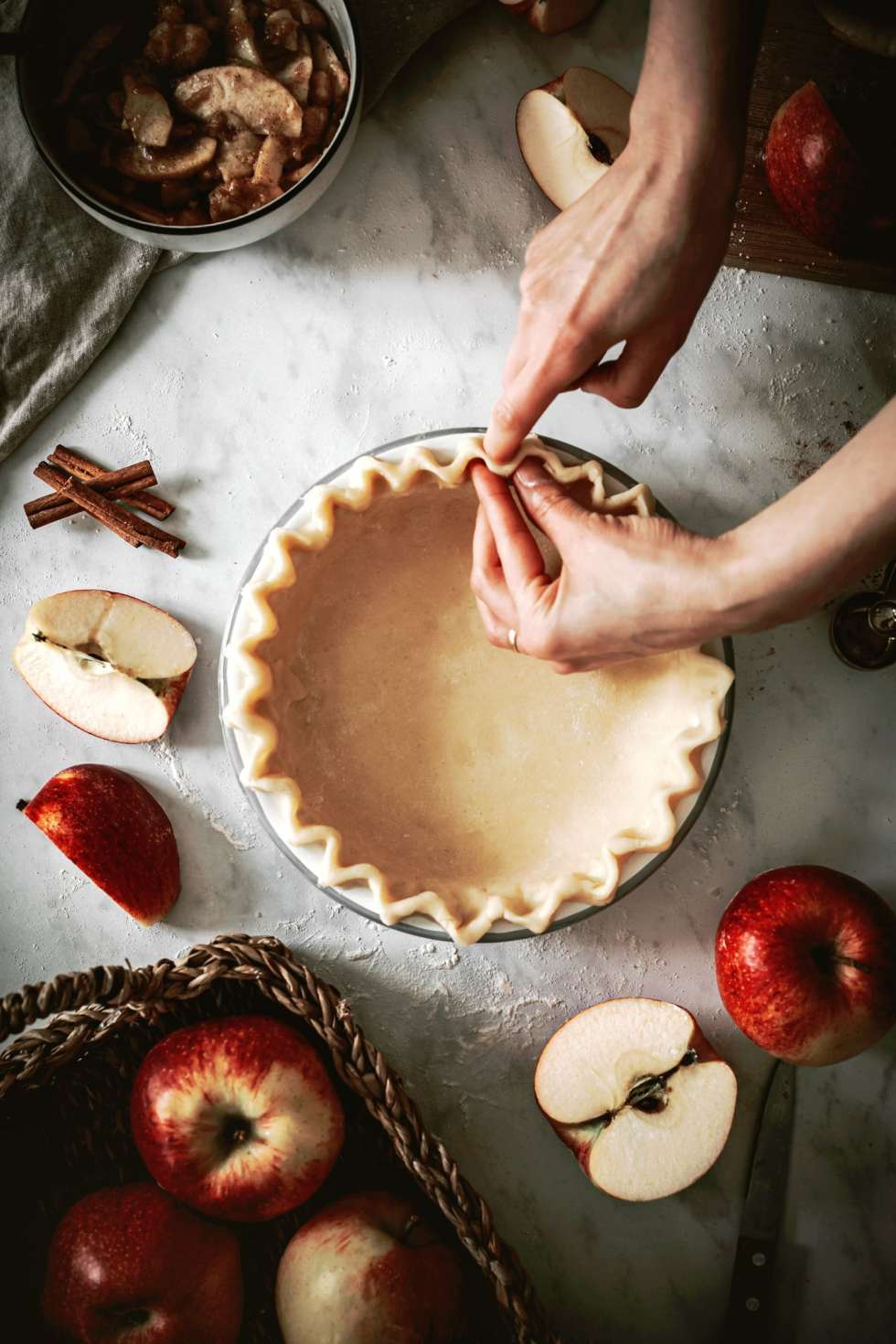 Shaping the apple pie