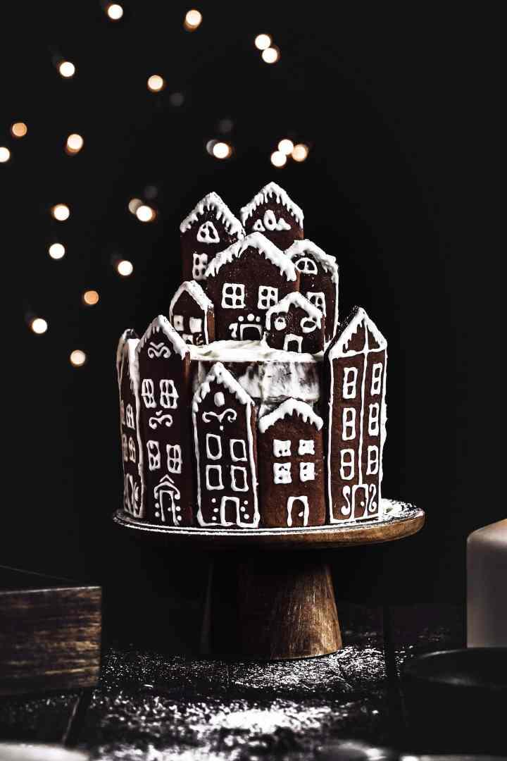 almond cinnamon gingerbread village layer cake