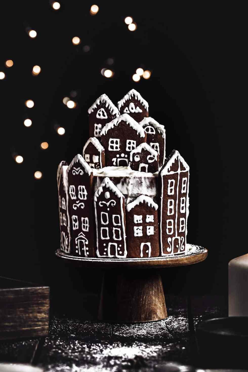 Layer cake village en pain d'épices