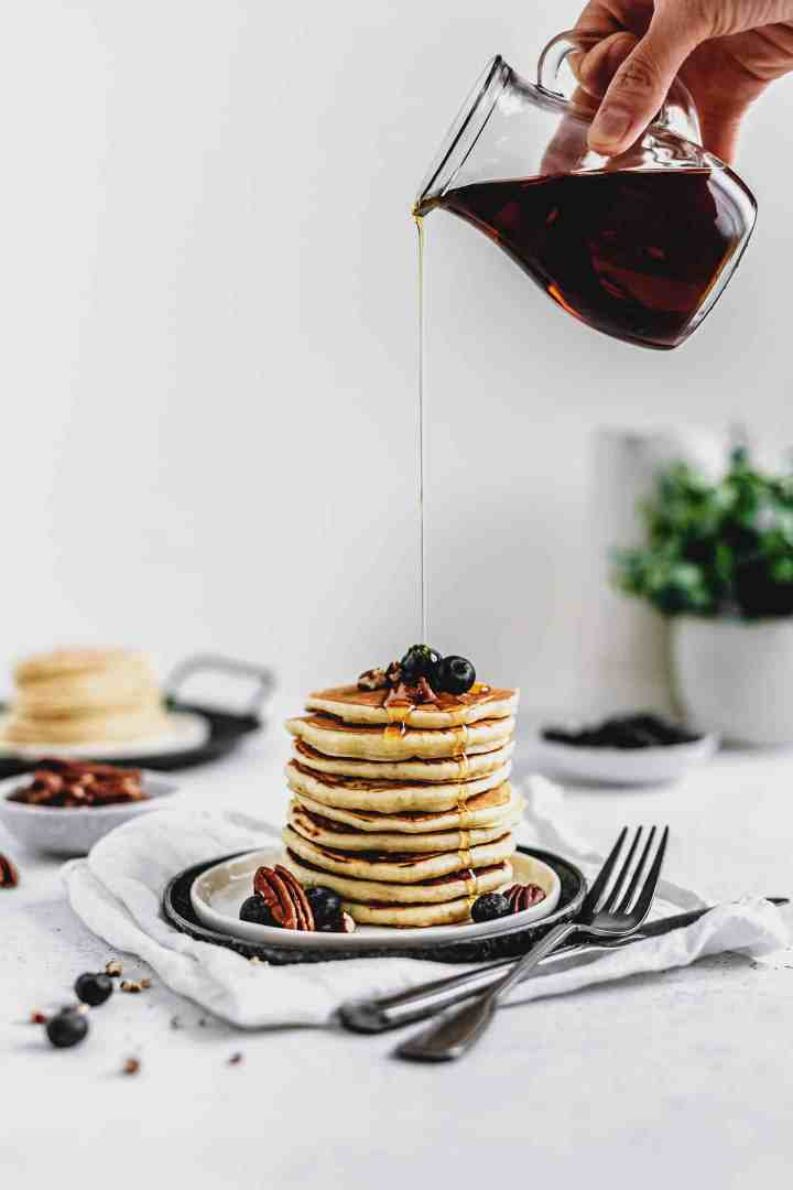 American pancakes and maple syrup