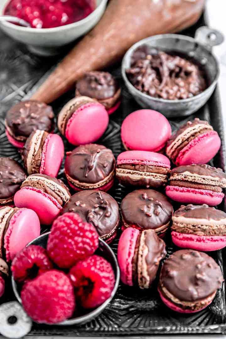 Chocolate raspberry macarons recipe