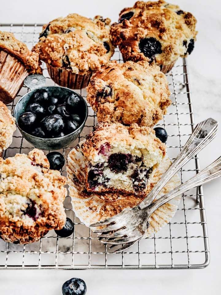 Muffins myrtilles et streusel