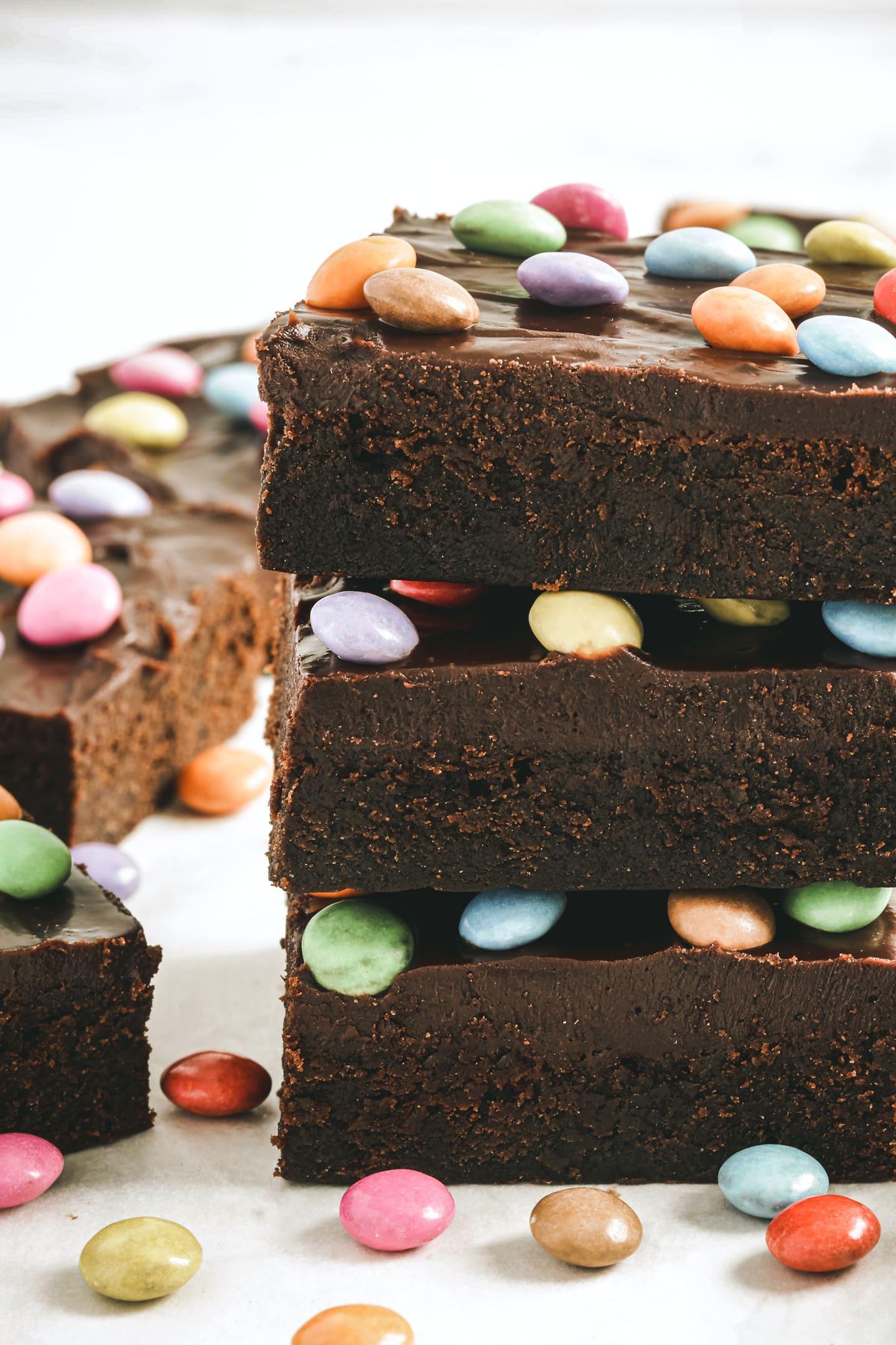 Brownie fondant auw smarties