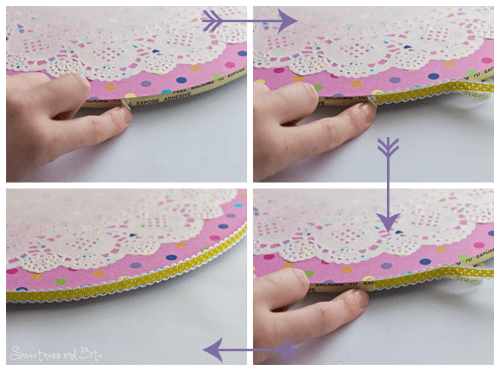 Applying ribbon to the cake board