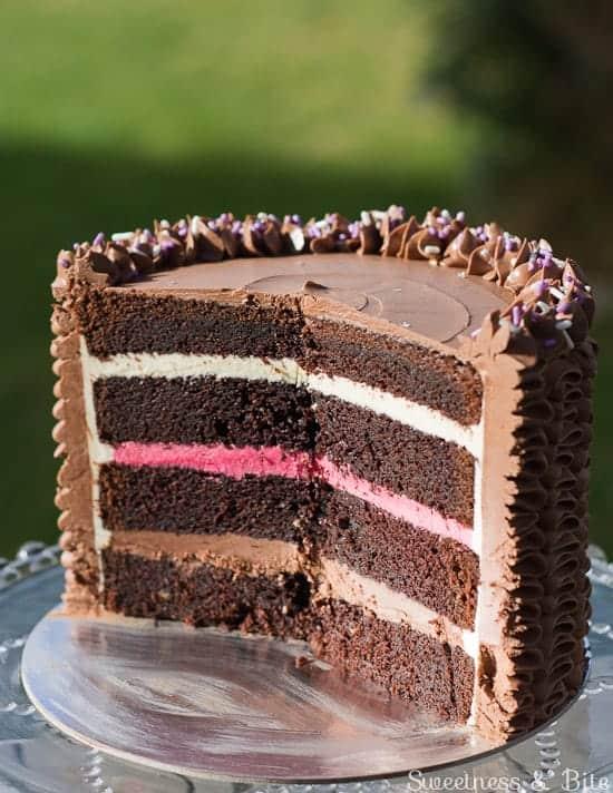 Devil's food cake with Neapolitan filling