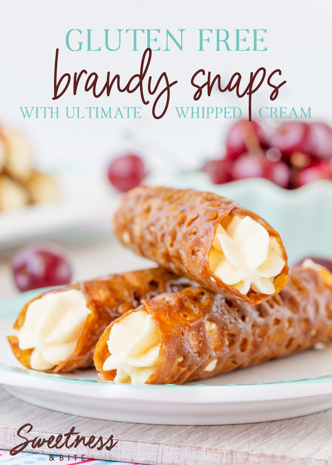 Gluten Free Brandy Snaps - simple recipe for these lacy, crunchy and spicy gluten free biscuit tubes filled with silky Ultimate Whipped Cream.
