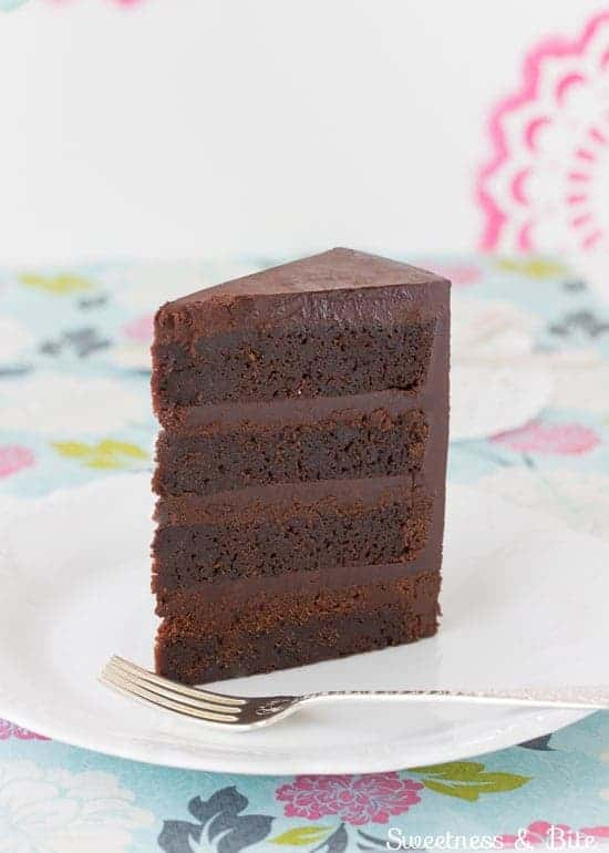Slice of gluten free dark chocolate mud cake.