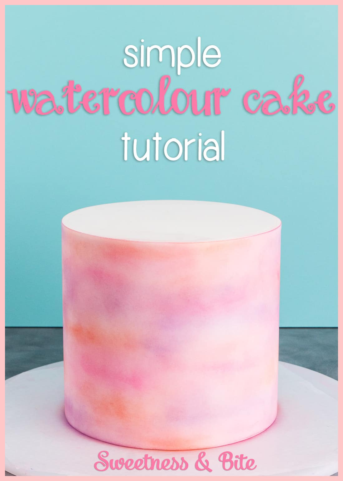 A watercolour fondant cake, in shades of pink, peach and purple.