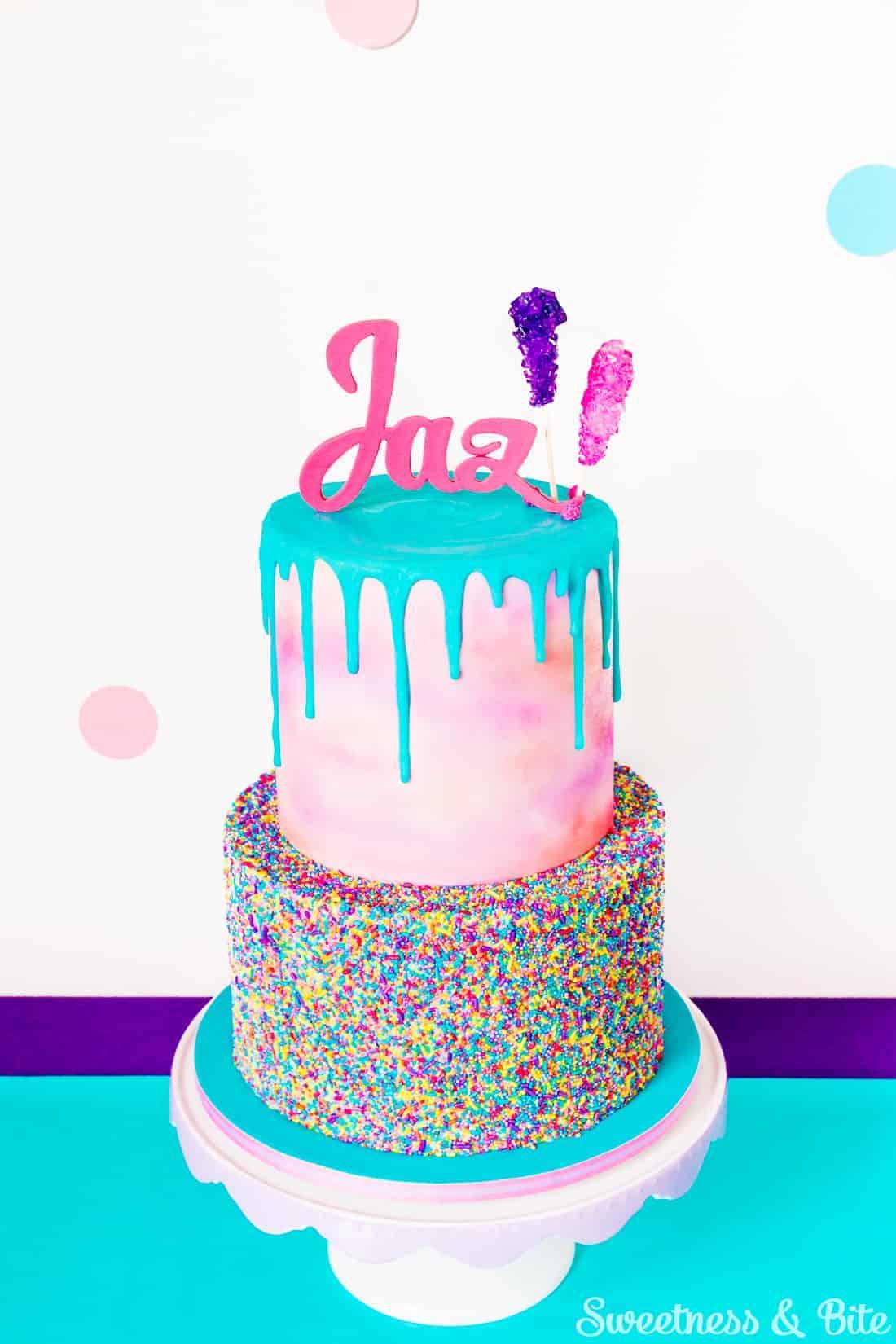 Sprinkle Watercolour Drippy Cake By Sweetness & Bite