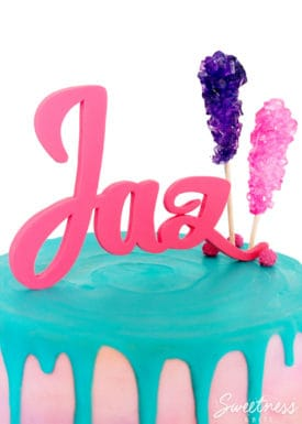 {Gum Paste Name Cake Topper Tutorial} ~ A step by step tutorial on creating a custom name cake topper. By Sweetness & Bite