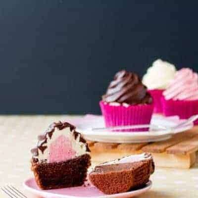 Neapolitan Surprise Cupcakes {Gluten Free, Or Not}