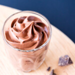 Easy chocolate mousse in a small glass.