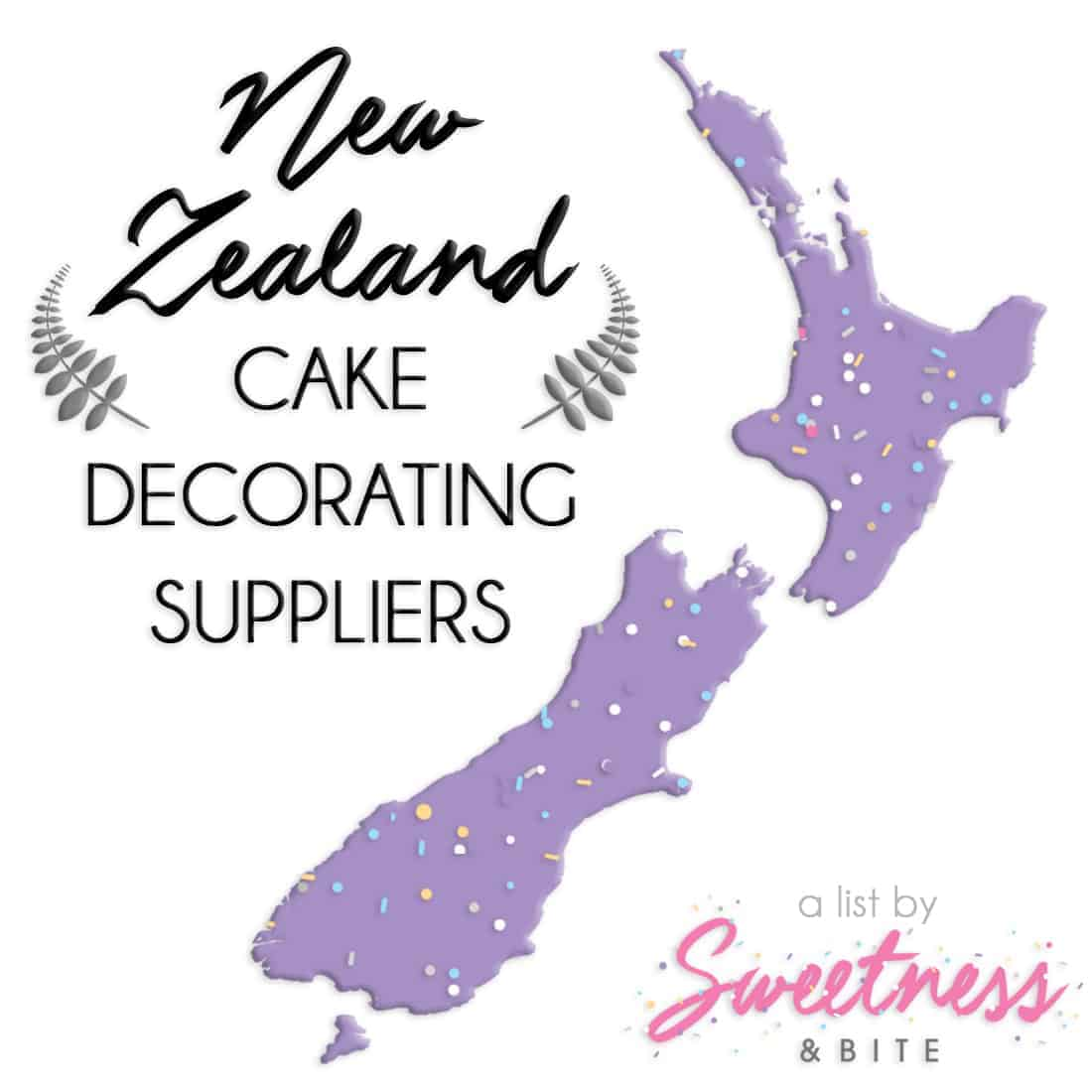 A handy list of cake decorating suppliers around New Zealand, including online stores, custom cake topper suppliers and edible image printers ~ by Sweetness and Bite