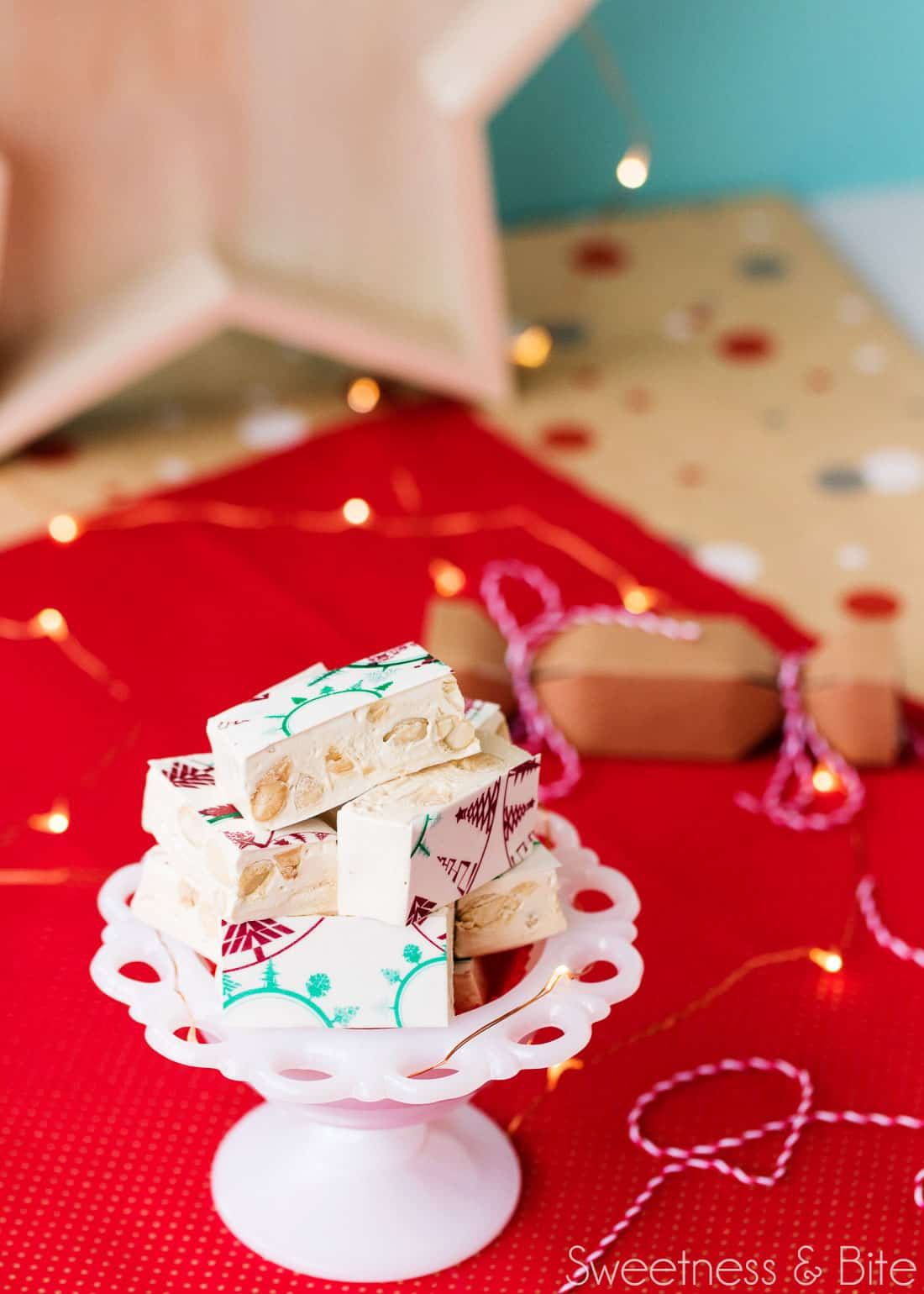 Festive Almond and Honey Nougat ~ Classic nougat with festive printed wafer paper ~ by Sweetness & Bite