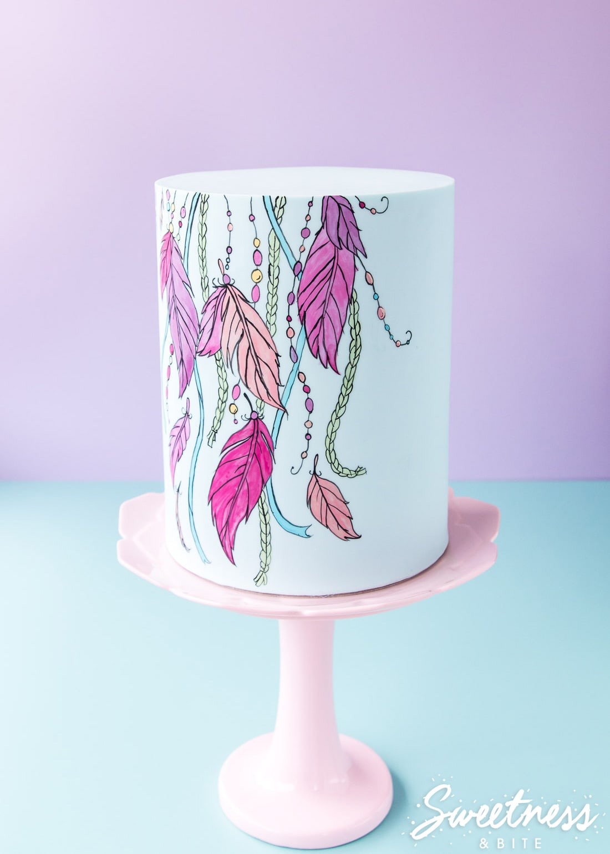 Boho Inspired Hand Painted Cake Tutorial ~ Sweetness & Bite