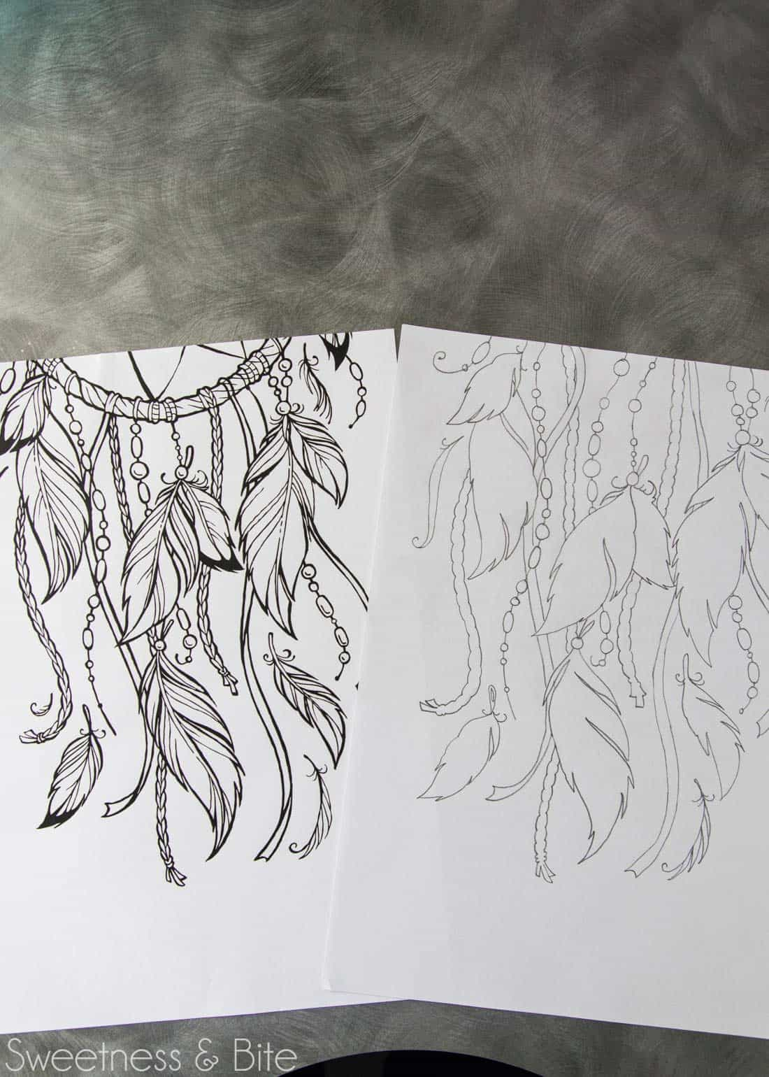 A dreamcatcher design printed onto paper and then traced onto another sheet of paper.