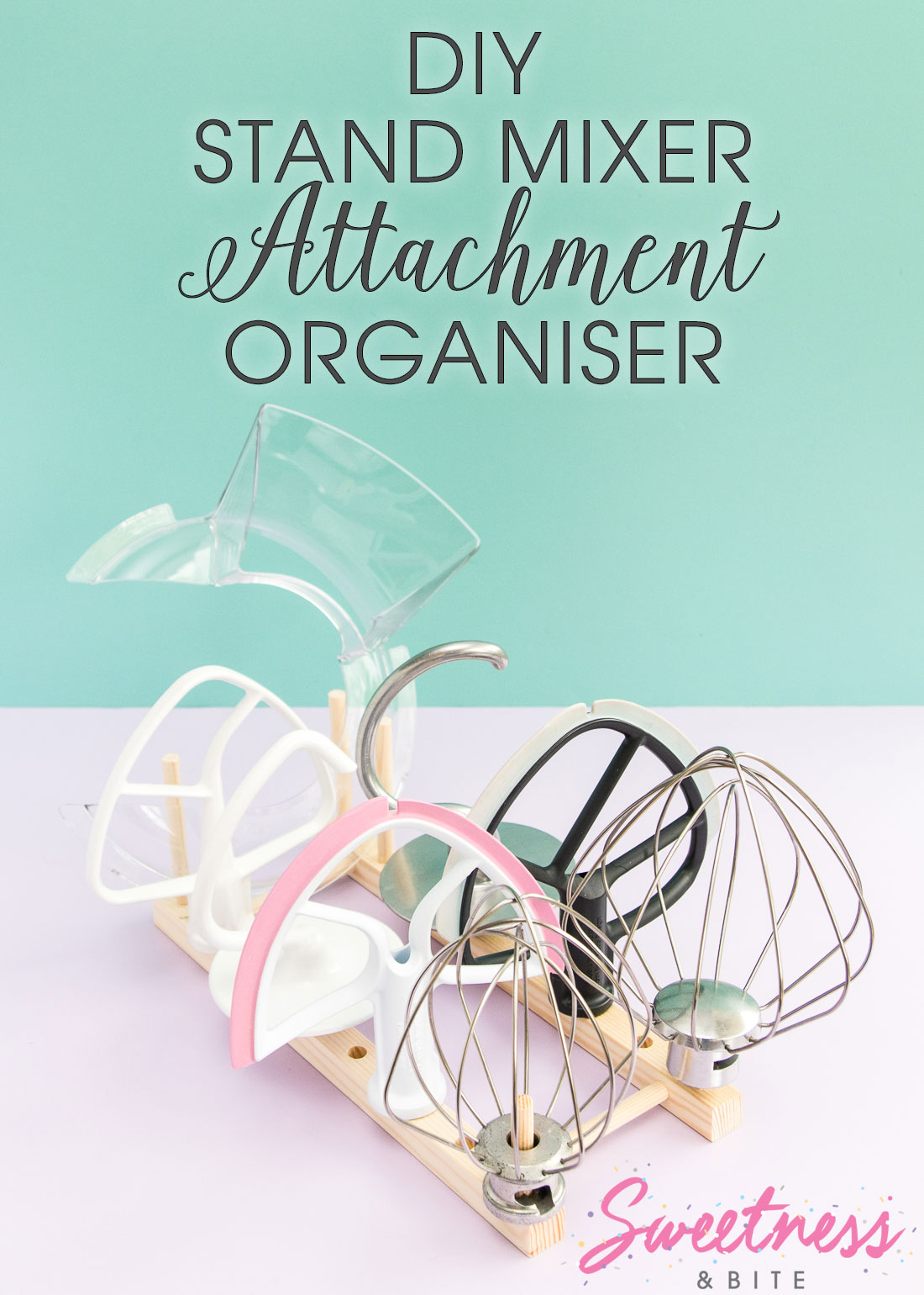 DIY Stand Mixer Attachment Organiser - Make your own handy organiser for your mixer attachments using a wooden plate rack.