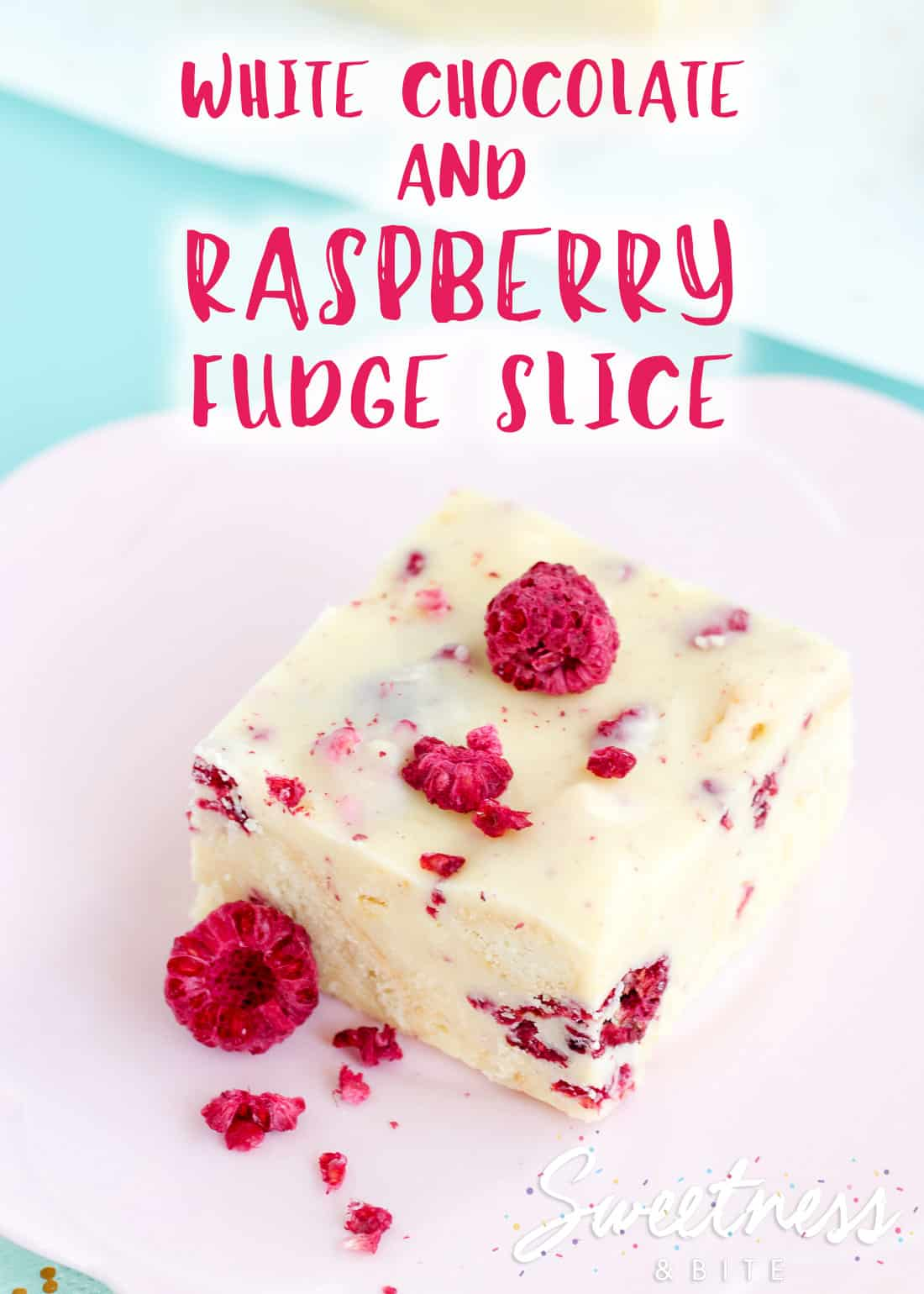 """One square piece of white chocolate and raspberry fudge slice on a pink flower shaped plate. Text overlay reads """"white chocolate and raspberry fudge slice""""."""