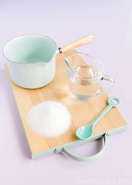 Simple syrup ingredients - sugar and water