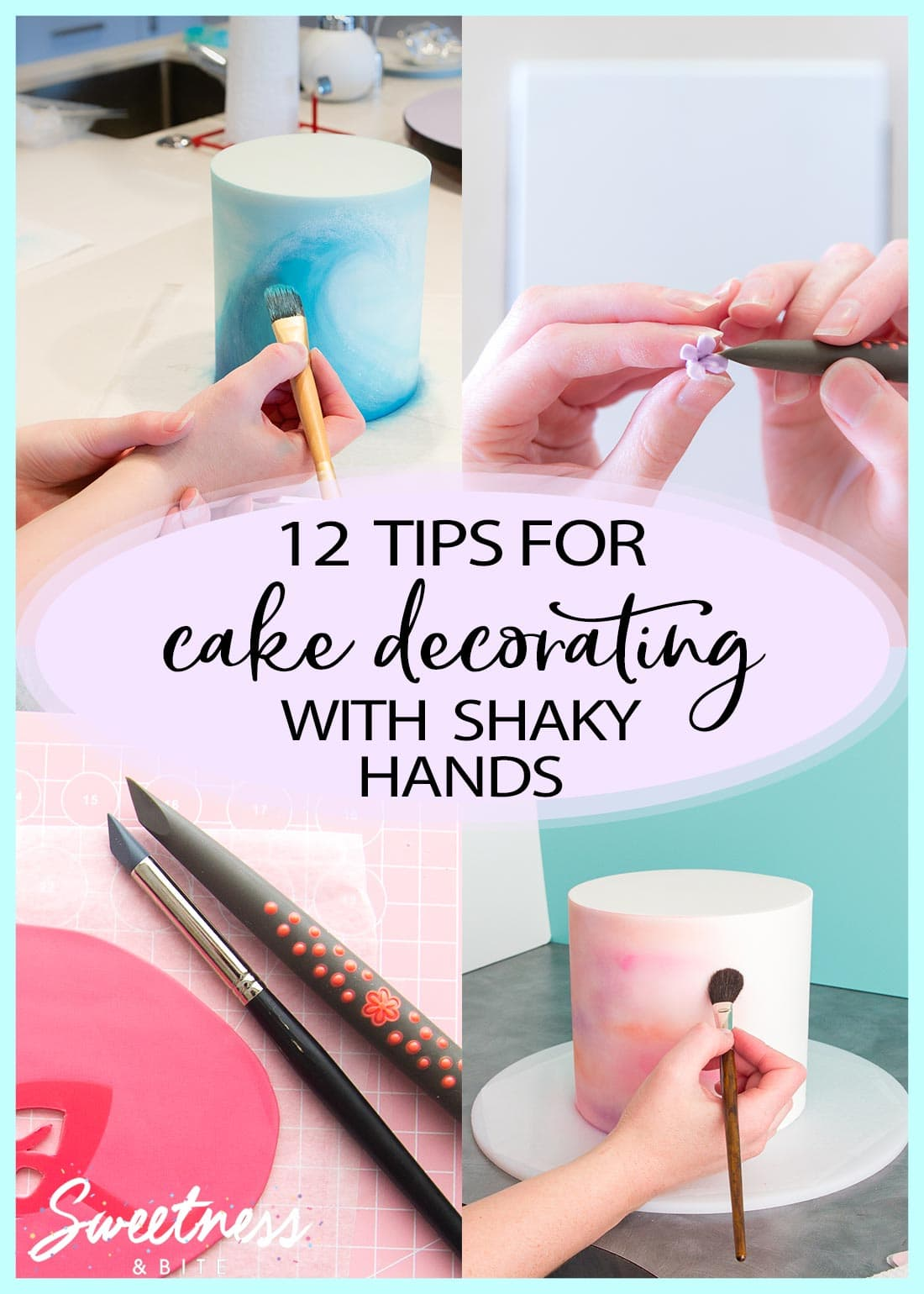 "A collage of four cake decorating images with text overlay reading: ""Tips for cake decorating with shaky hands."""