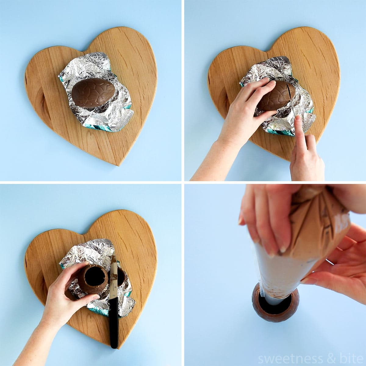 Collage of images showing the steps for cutting the tops off the Easter eggs, and filling the egg with mousse.