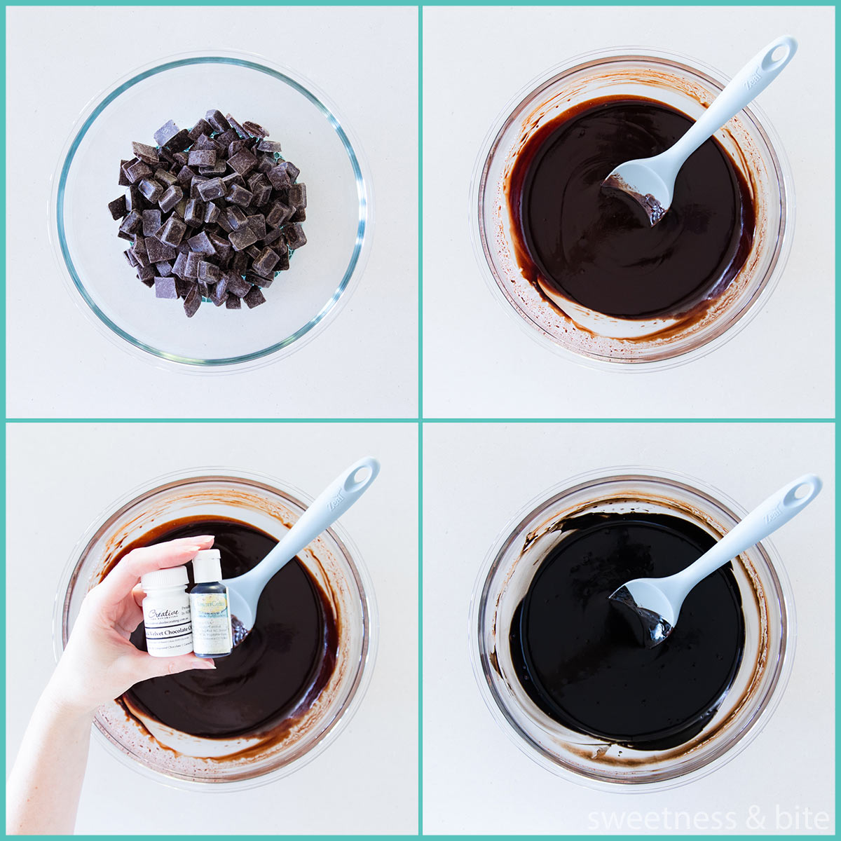 Collage showing the stages of making black chocolate ganache.