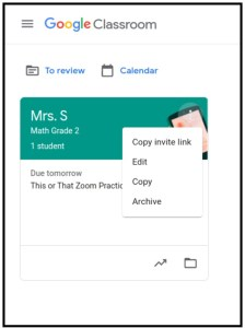 Google Classroom for primary students