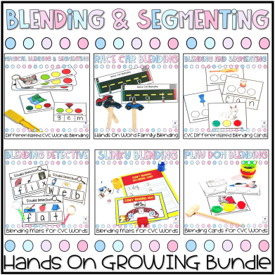 hands on blending and segmenting growing bundle for CVC words