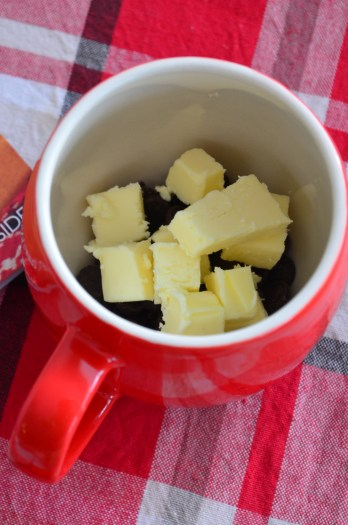 Melt butter and chocolate chips