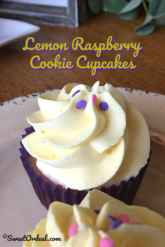 Lemon Raspberry Cookie Cupcakes