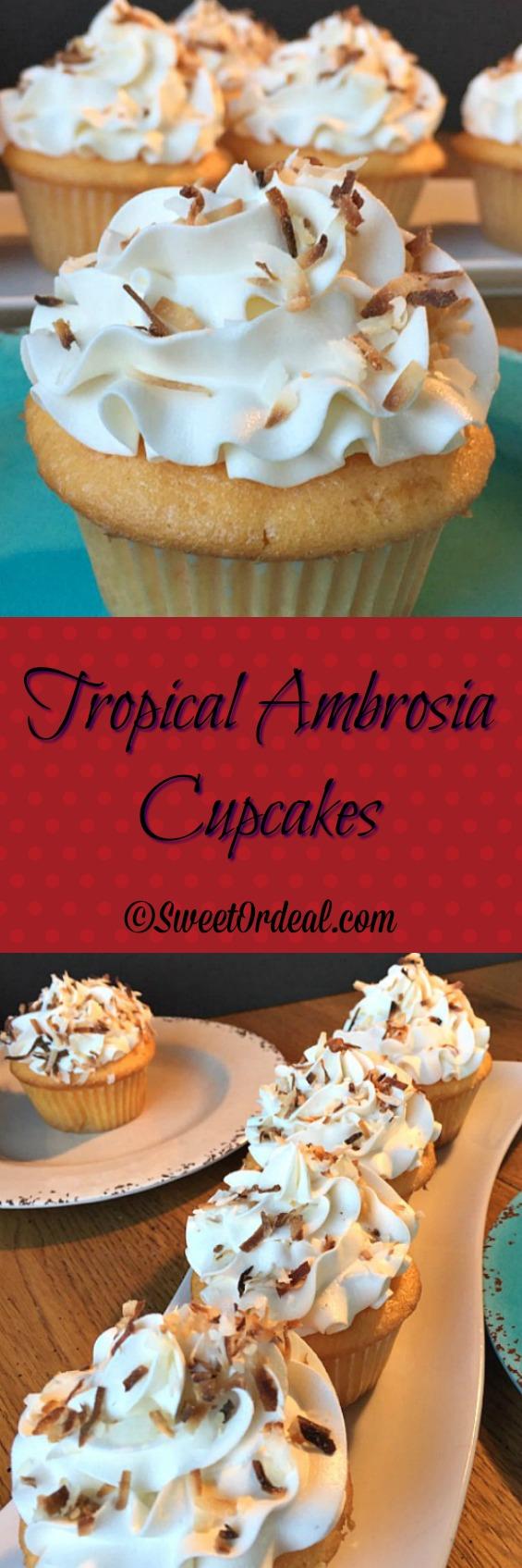Tropical Ambrosia Cupcakes