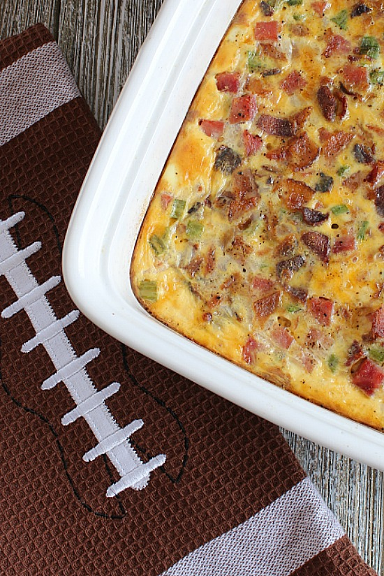 Football towel and a casserole with bacon. Mmm
