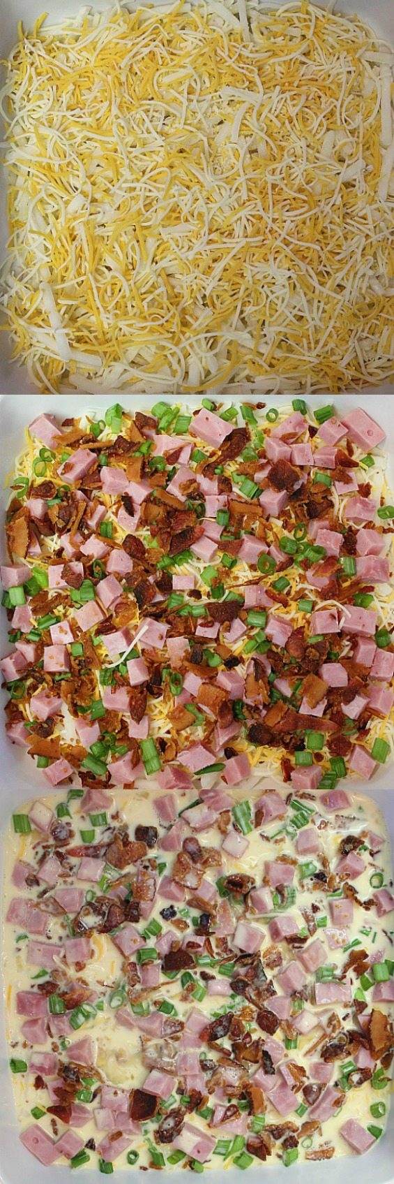 Different layers of Bacon Hash Brown Casserole.