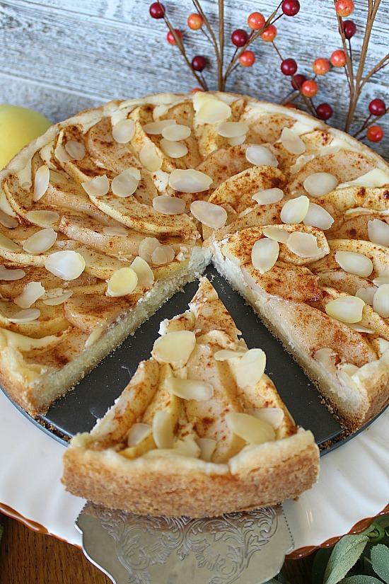 A slice of Apple Pear Cream Cheese Tart.
