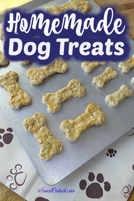 Dog treats on baking sheet.