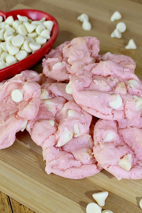 Strawberry Cake Mix Cookies using white chocolate chips.