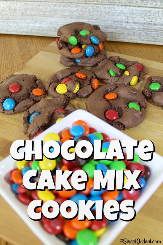 M&Ms in chocolate cookies.