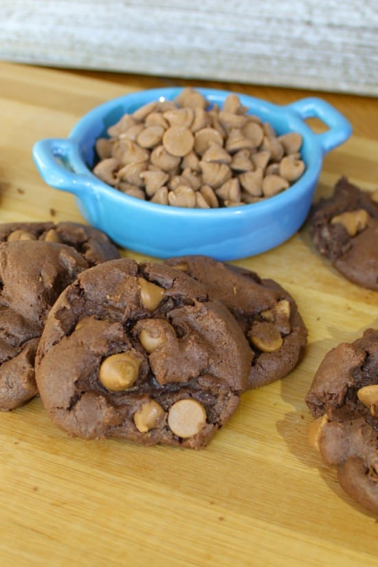 Chocolate Cake Mix Cookies with peanut butter chips.